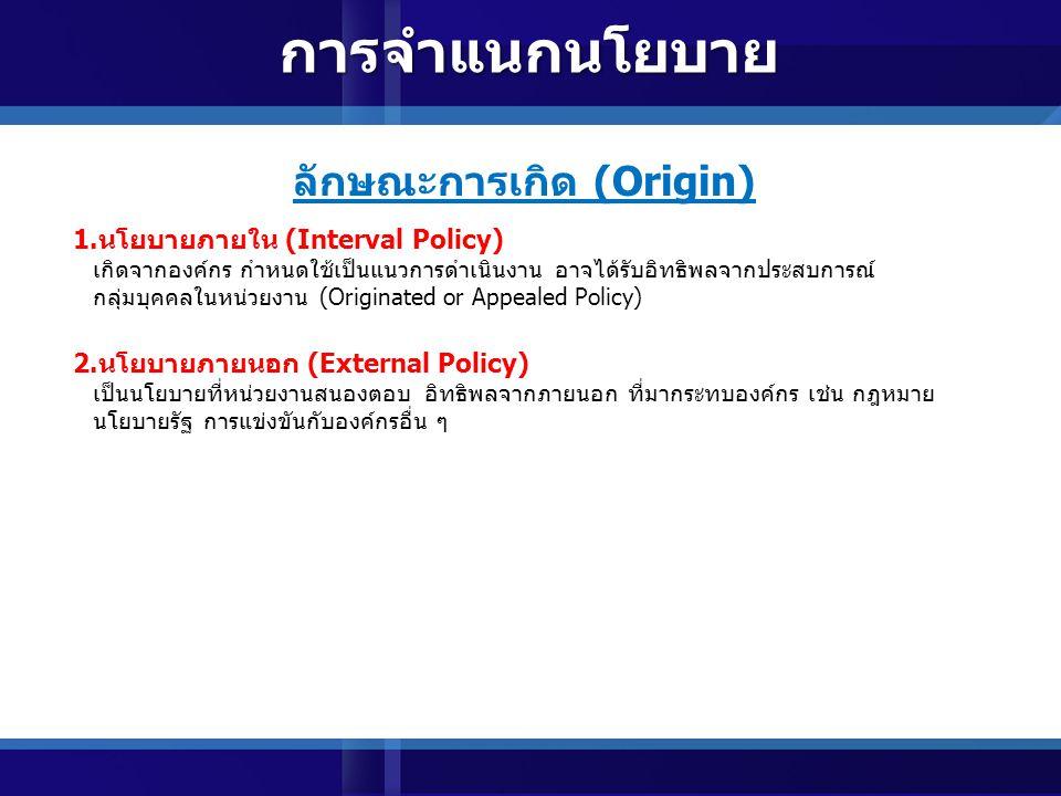 แหล่งที่มา (Source) 1.นโยบายริเริ่ม (Originate Policy) เกิดจากผู้บริหารระดับสูง จัดทำขึ้นเป็นแนวทางปฏิบัติ แก่ผู้ใต้บังคับบัญชาทั้งหมด 2.นโยบายร้องเรียน (Imposed Policy) เกิดจากแรงกดดันภายนอกองค์การ เช่น อิทธิพลรัฐบาล กฎระเบียบ กลุ่มอิทธิพล ซึ่งองค์การ หลีกเลี่ยงไม่ได้ 3.นโยบายโดยปริยาย (Implied Policy) นโยบายของผู้บริหารที่ผู้บริหารใหม่ ใช้เชื่อมต่อการปฏิบัติขององค์กร การจำแนกนโยบาย