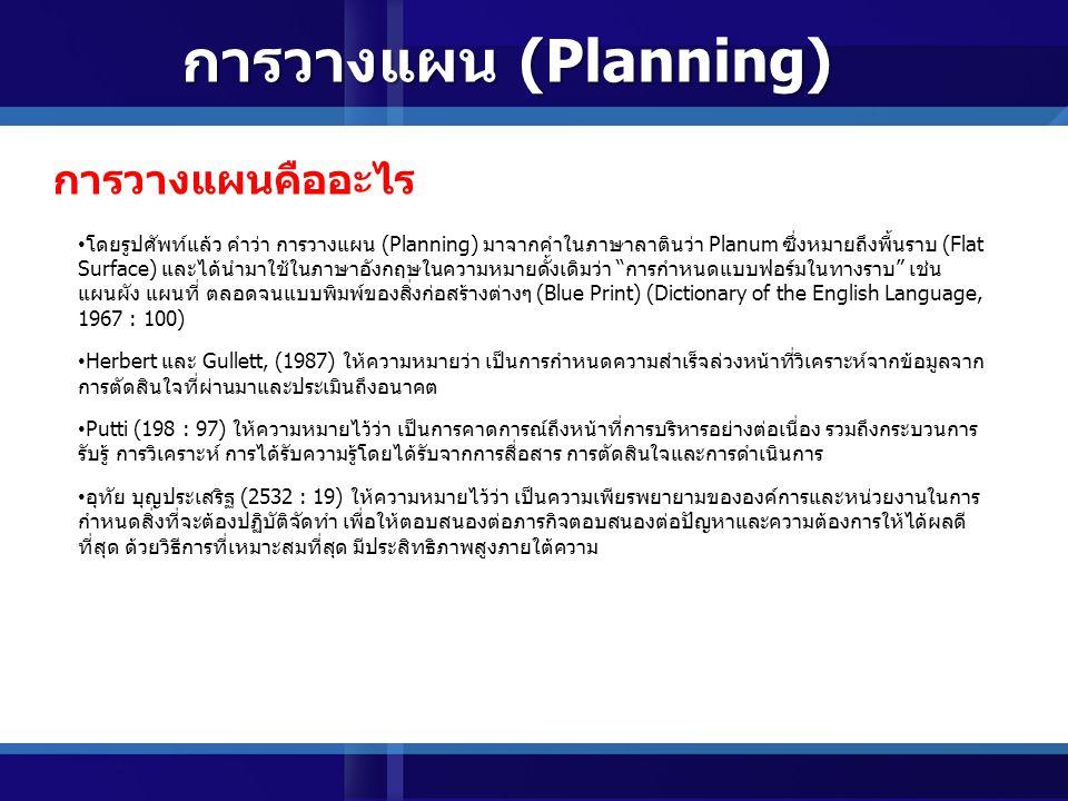 แผน (Plan) แผน (Plan) (Planning) การวางแผน (Planning) แผนและการวางแผน (Plan & Planning )