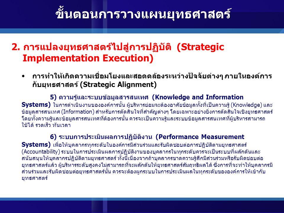 การทำให้เกิดความเชื่อมโยงและสอดคล้องระหว่างปัจจัยต่างๆ ภายในองค์การ กับยุทธศาสตร์ (Strategic Alignment) 3) สมรรถนะและความสามารถของบุคลากร (Personnel Competencies) การที่ยุทธศาสตร์จะได้รับการขับเคลื่อนได้นั้นจะต้องอาศัยบุคลากรเป็นสำคัญปัญหาที่มักจะเกิดขึ้นในองค์การทั่วไป คือบุคลากรขาดความรู้ ความสามารถทักษะ ทัศนคติ ที่เหมาะสมและสอดคล้องกับยุทธศาสตร์ ดังนั้นการที่จะทำให้ ยุทธศาสตร์ได้รับการขับเคลื่อนและปฏิบัติตามได้เป็นอย่างดีจากบุคลากรในองค์การ จะต้องมีการพัฒนาสมรรถนะ ของบุคลากรให้สอดคล้องและเชื่อมโยงกับยุทธศาสตร์ขององค์การ 4) วัฒนธรรมและค่านิยมในการทำงาน (Organization Culture and Shared Value) นอกเหนือจากสมรรถนะของบุคลากรที่จะต้องเชื่อมโยงและสอดคล้องกับยุทธศาสตร์แล้ววัฒนธรรมและ ค่านิยมในการทำงานของบุคลากรในองค์การก็จะควรจะเป็นไปในทิศทางเดียวกับยุทธศาสตร์ขององค์การด้วย เช่นเดียวกัน ทั้งนี้เพื่อให้สามารถมั่นใจได้ว่าแนวทางในการประพฤติ ปฏิบัติของบุคลากรต่างๆ ในองค์การเป็นไปใน ทิศทางเดียวกับยุทธศาสตร์ขององค์การ 2.