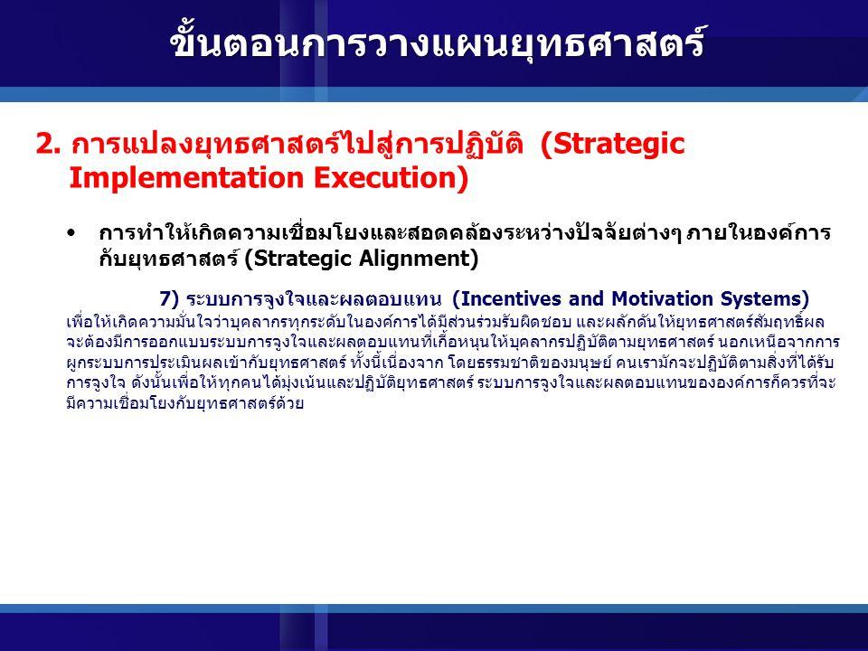 การทำให้เกิดความเชื่อมโยงและสอดคล้องระหว่างปัจจัยต่างๆ ภายในองค์การ กับยุทธศาสตร์ (Strategic Alignment) 5) ความรู้และระบบข้อมูลสารสนเทศ (Knowledge and