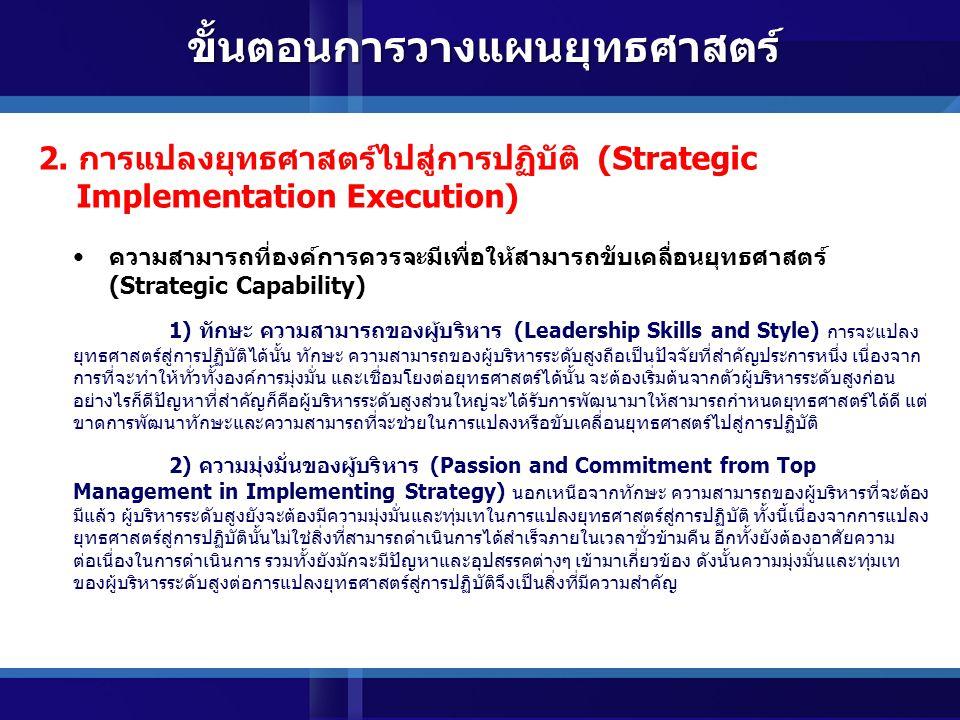 การทำให้เกิดความเชื่อมโยงและสอดคล้องระหว่างปัจจัยต่างๆ ภายในองค์การ กับยุทธศาสตร์ (Strategic Alignment) 7) ระบบการจูงใจและผลตอบแทน (Incentives and Motivation Systems) เพื่อให้เกิดความมั่นใจว่าบุคลากรทุกระดับในองค์การได้มีส่วนร่วมรับผิดชอบ และผลักดันให้ยุทธศาสตร์สัมฤทธิ์ผล จะต้องมีการออกแบบระบบการจูงใจและผลตอบแทนที่เกื้อหนุนให้บุคลากรปฏิบัติตามยุทธศาสตร์ นอกเหนือจากการ ผูกระบบการประเมินผลเข้ากับยุทธศาสตร์ ทั้งนี้เนื่องจาก โดยธรรมชาติของมนุษย์ คนเรามักจะปฏิบัติตามสิ่งที่ได้รับ การจูงใจ ดังนั้นเพื่อให้ทุกคนได้มุ่งเน้นและปฏิบัติยุทธศาสตร์ ระบบการจูงใจและผลตอบแทนขององค์การก็ควรที่จะ มีความเชื่อมโยงกับยุทธศาสตร์ด้วย 2.