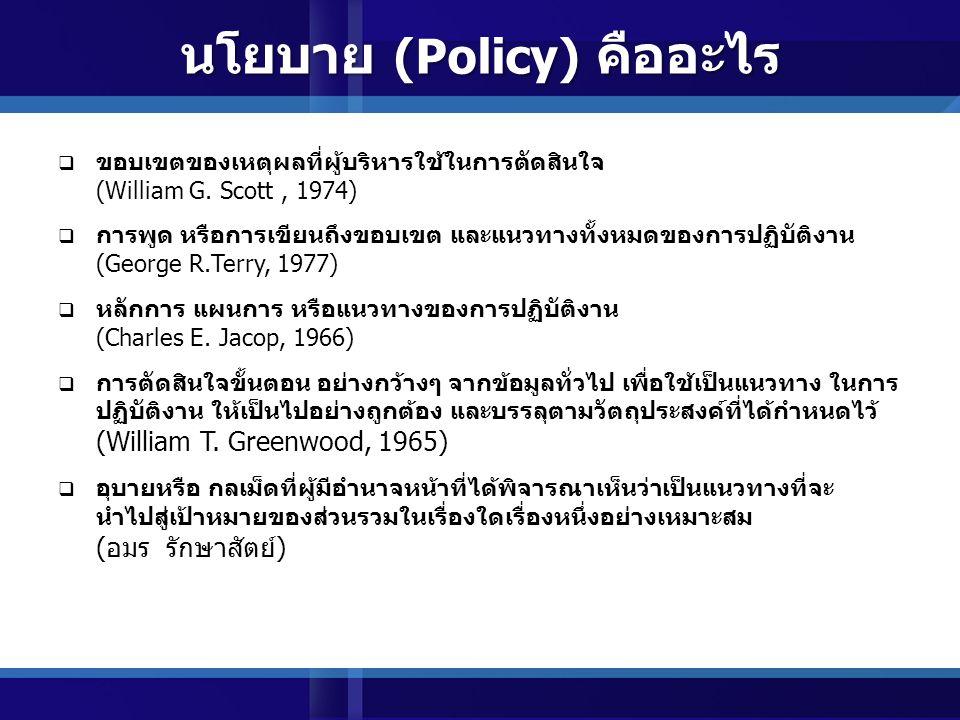 นโยบาย (Policy)