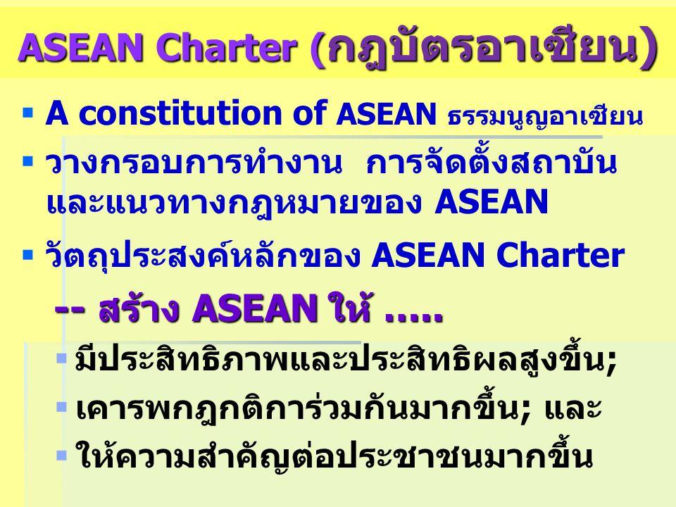 ASEAN Charter ( กฎบัตรอาเซียน)   A constitution of ASEAN ธรรมนูญอาเซียน   วางกรอบการทำงาน การจัดตั้งสถาบัน และแนวทางกฎหมายของ ASEAN   วัตถุประสง