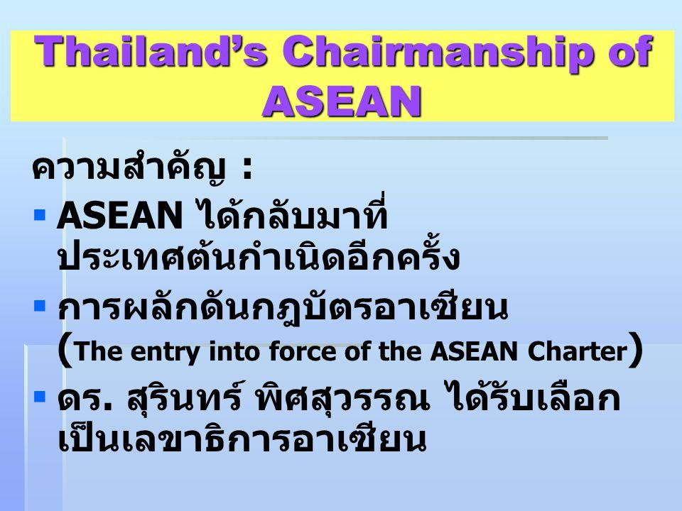 Thailand's Chairmanship of ASEAN ความสำคัญ :   ASEAN ได้กลับมาที่ ประเทศต้นกำเนิดอีกครั้ง   การผลักดันกฎบัตรอาเซียน ( The entry into force of the