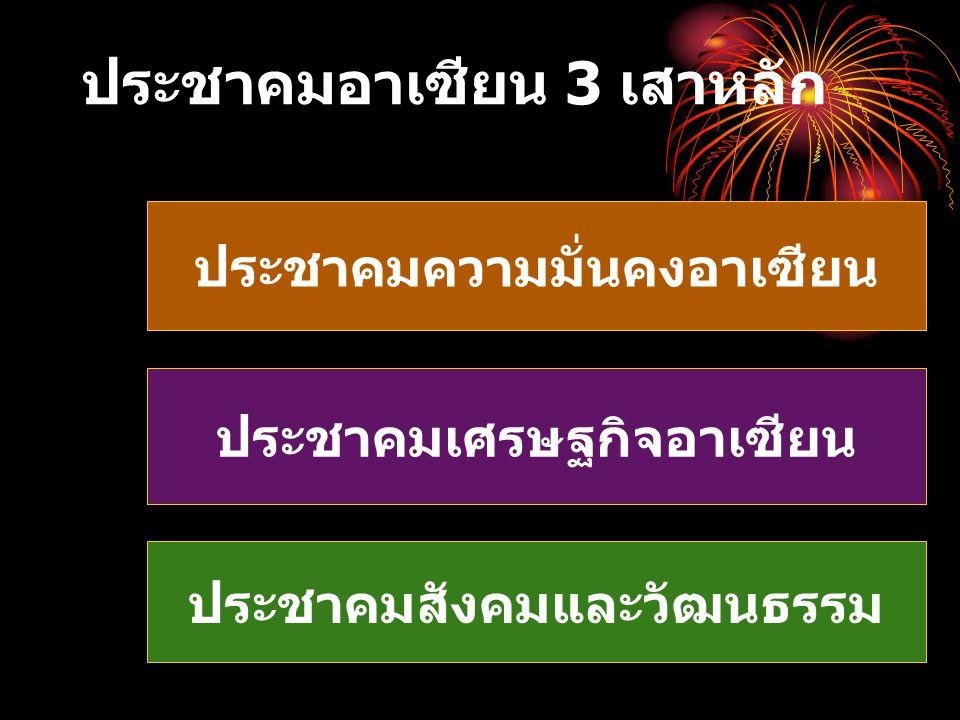 ประชาคมอาเซียน 3 เสาหลัก ประชาคมความมั่นคงอาเซียน ประชาคมเศรษฐกิจอาเซียน ประชาคมสังคมและวัฒนธรรม