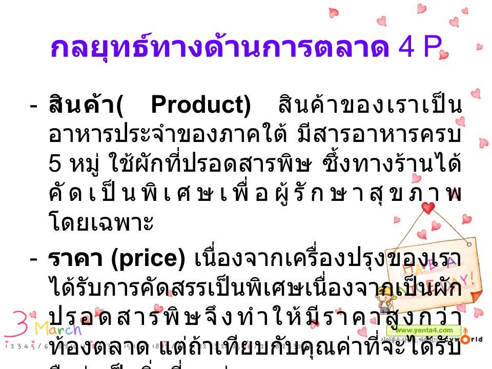 กลยุทธ์ทางด้านการตลาด 4 P - สินค้า ( Product) สินค้าของเราเป็น อาหารประจำของภาคใต้ มีสารอาหารครบ 5 หมู่ ใช้ผักที่ปรอดสารพิษ ซึ้งทางร้านได้ คัดเป็นพิเศ