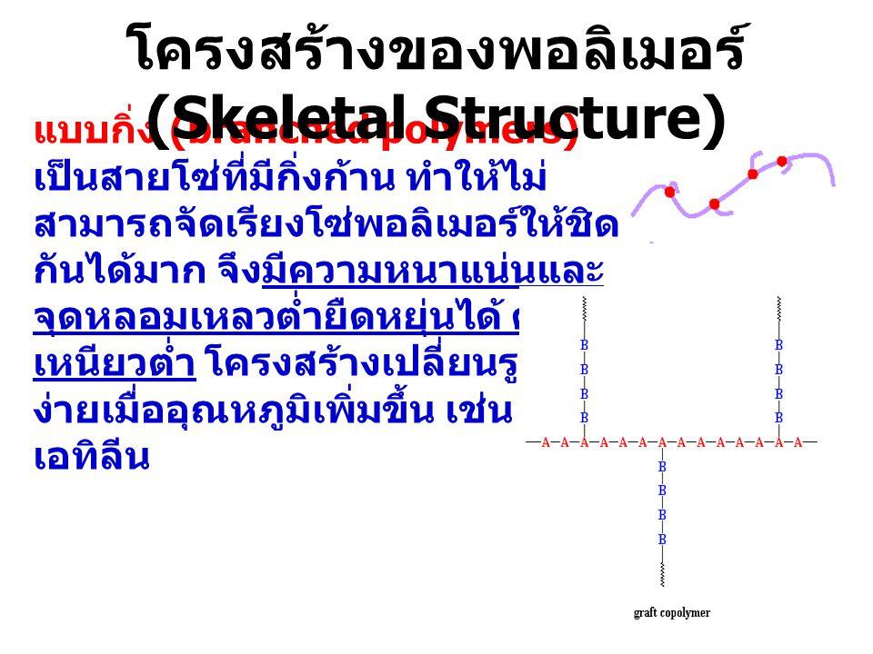 แบบกิ่ง (branched polymers) เป็นสายโซ่ที่มีกิ่งก้าน ทำให้ไม่ สามารถจัดเรียงโซ่พอลิเมอร์ให้ชิด กันได้มาก จึงมีความหนาแน่นและ จุดหลอมเหลวต่ำยืดหยุ่นได้