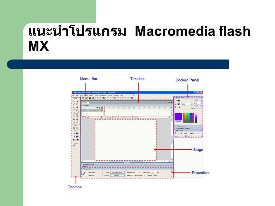แนะนำโปรแกรม Macromedia flash MX
