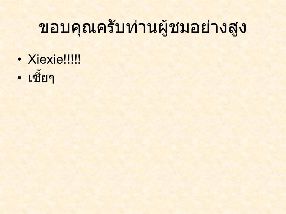 ขอบคุณครับท่านผู้ชมอย่างสูง Xiexie!!!!! เซี้ยๆ