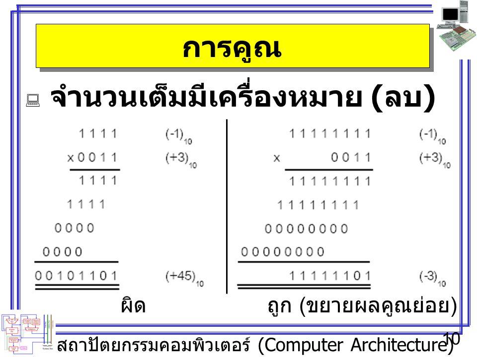 สถาปัตยกรรมคอมพิวเตอร์ (Computer Architecture) 10 การคูณ  จำนวนเต็มมีเครื่องหมาย ( ลบ ) ผิดถูก ( ขยายผลคูณย่อย )