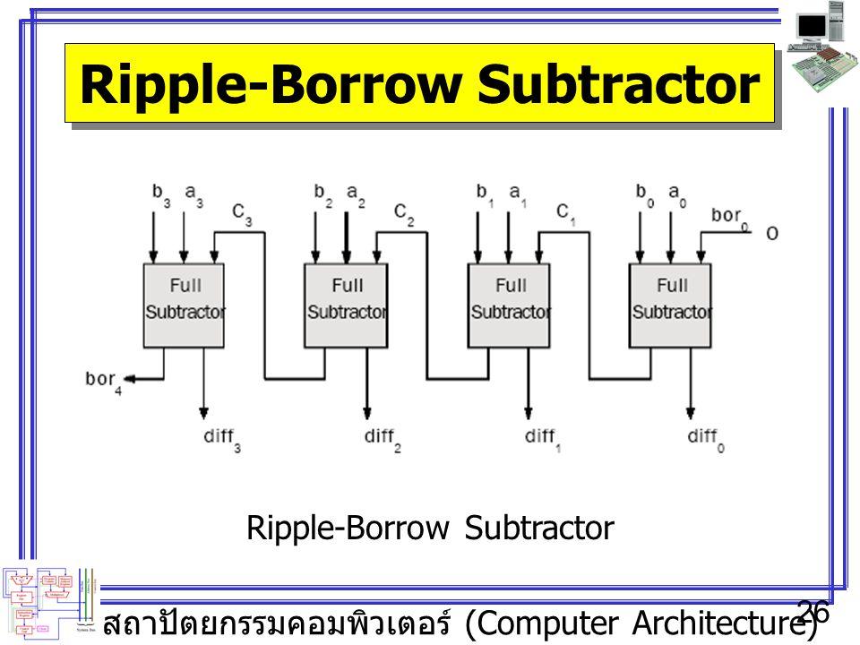 สถาปัตยกรรมคอมพิวเตอร์ (Computer Architecture) 26 Ripple-Borrow Subtractor