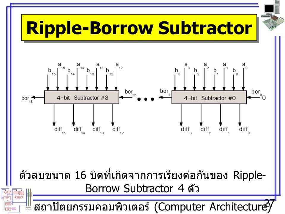 สถาปัตยกรรมคอมพิวเตอร์ (Computer Architecture) 27 Ripple-Borrow Subtractor ตัวลบขนาด 16 บิตที่เกิดจากการเรียงต่อกันของ Ripple- Borrow Subtractor 4 ตัว