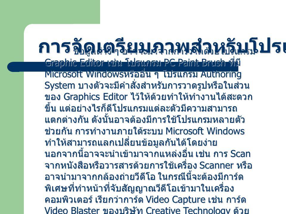 ข้อมูลต่าง ๆ อาจจะมาจากการวาดด้วยโปรแกรม Graphic Editor เช่น โปรแกรม PC Paint Brush ที่มี Microsoft Windows หรืออื่น ๆ โปรแกรม Authoring System บางตัวจะมีคำสั่งสำหรับการวาดรูปหรือในส่วน ของ Graphics Editor ไว้ให้ด้วยทำให้ทำงานได้สะดวก ขึ้น แต่อย่างไรก็ดีโปรแกรมแต่ละตัวมีความสามารถ แตกต่างกัน ดังนั้นอาจต้องมีการใช้โปรแกรมหลายตัว ช่วยกัน การทำงานภายใต้ระบบ Microsoft Windows ทำให้สามารถแลกเปลี่ยนข้อมูลกันได้โดยง่าย นอกจากนี้อาจจะนำเข้ามาจากแหล่งอื่น เช่น การ Scan จากหนังสือหรือวารสารด้วยการใช้เครื่อง Scanner หรือ อาจนำมาจากกล้องถ่ายวีดีโอ ในกรณีนี้จะต้องมีการ์ด พิเศษที่ทำหน้าที่จับสัญญาณวีดีโอเข้ามาในเครื่อง คอมพิวเตอร์ เรียกว่าการ์ด Video Capture เช่น การ์ด Video Blaster ของบริษัท Creative Technology ด้วย วิธีนี้ทำให้สามารถนำภาพต่าง ๆ เข้ามาใช้ในโปรแกรมได้ อย่างมากมาย การจัดเตรียมภาพสำหรับโปรแกรม