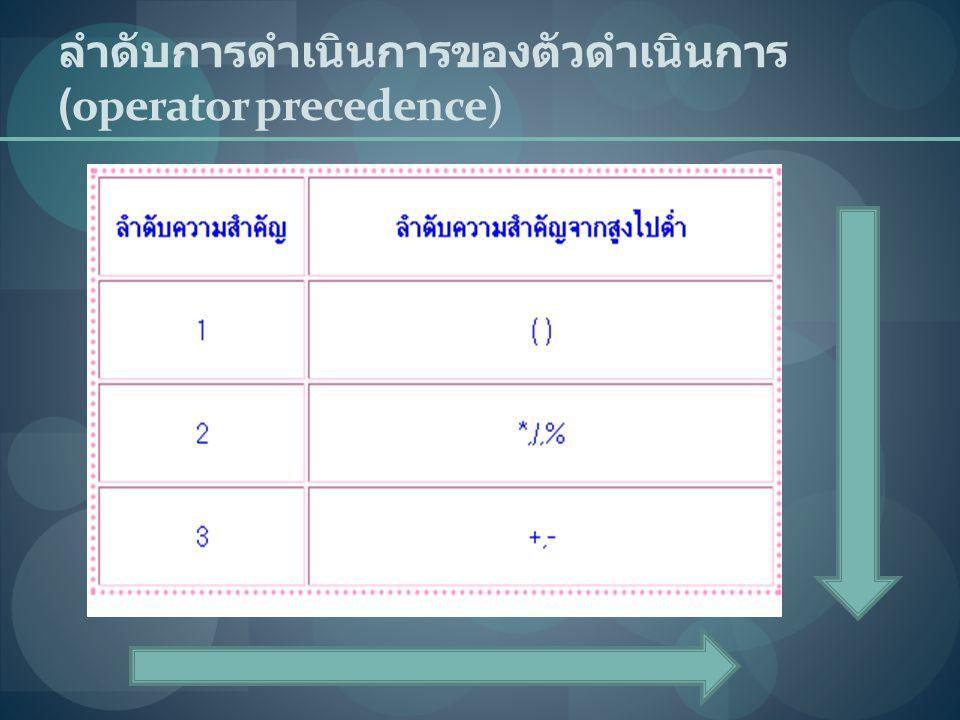 ลำดับการดำเนินการของตัวดำเนินการ (operator precedence)