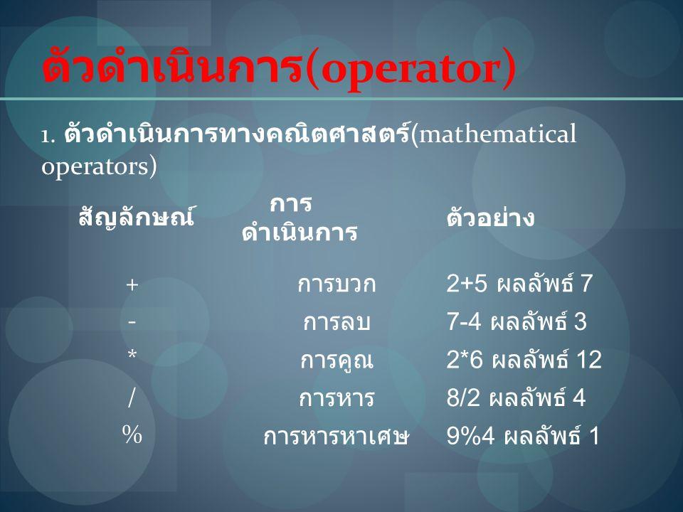 ตัวดำเนินการ (operator) 1. ตัวดำเนินการทางคณิตศาสตร์ (mathematical operators) สัญลักษณ์ การ ดำเนินการ ตัวอย่าง + การบวก 2+5 ผลลัพธ์ 7 - การลบ 7-4 ผลลั