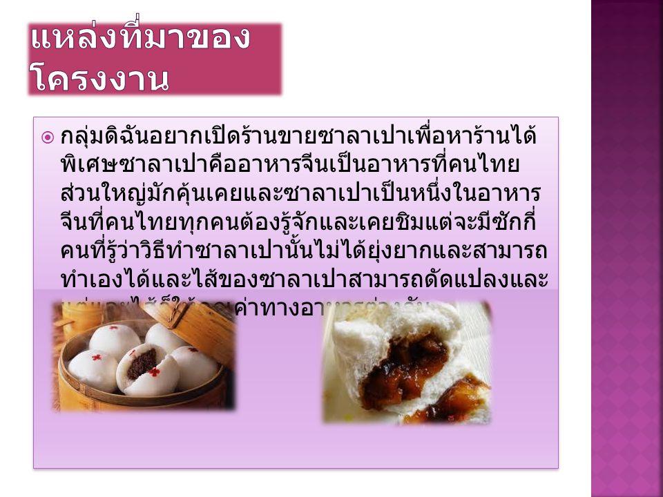 กลุ่มดิฉันอยากเปิดร้านขายซาลาเปาเพื่อหาร้านได้ พิเศษซาลาเปาคืออาหารจีนเป็นอาหารที่คนไทย ส่วนใหญ่มักคุ้นเคยและซาลาเปาเป็นหนึ่งในอาหาร จีนที่คนไทยทุกค