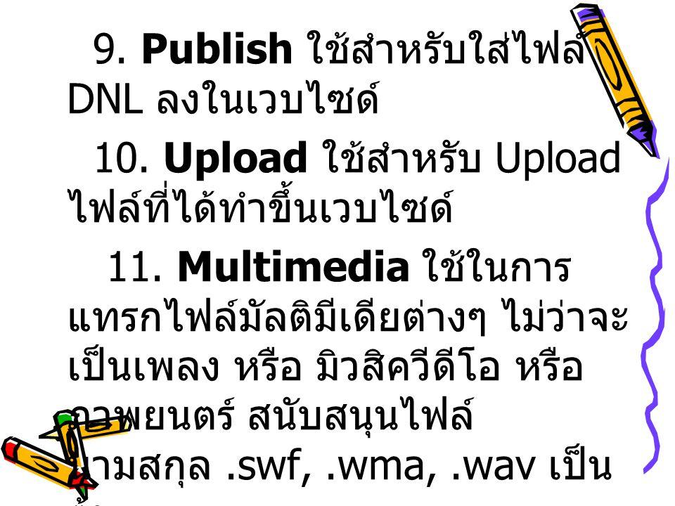 9.Publish ใช้สำหรับใส่ไฟล์ DNL ลงในเวบไซด์ 10. Upload ใช้สำหรับ Upload ไฟล์ที่ได้ทำขึ้นเวบไซด์ 11.
