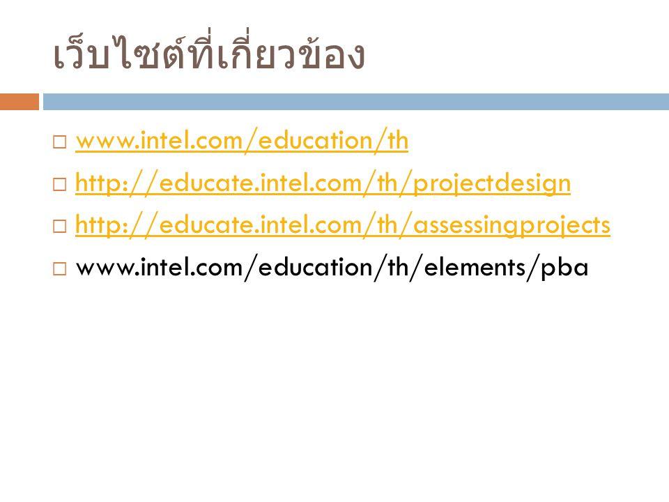เว็บไซต์ที่เกี่ยวข้อง  www.intel.com/education/th www.intel.com/education/th  http://educate.intel.com/th/projectdesign http://educate.intel.com/th/projectdesign  http://educate.intel.com/th/assessingprojects http://educate.intel.com/th/assessingprojects  www.intel.com/education/th/elements/pba