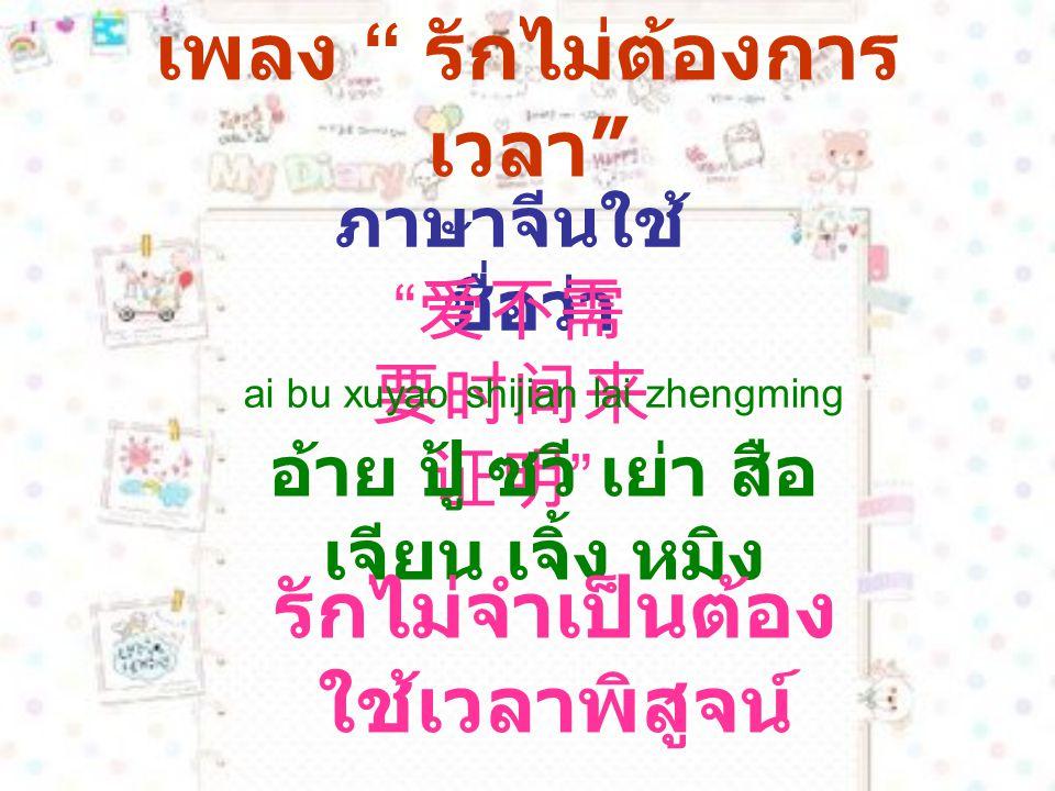 ตัวอย่างคำศัพท์ที่น่าสนใจ ในเพลงนี้ 陌生人 [mòshēngrén] คน แปลกหน้า 不怕 [bùpà] ไม่กลัว 心里 [xīnli] ในหัวใจ 自己 [zìjǐ] ตัวเอง 幸福 [xìngfú] ความสุข
