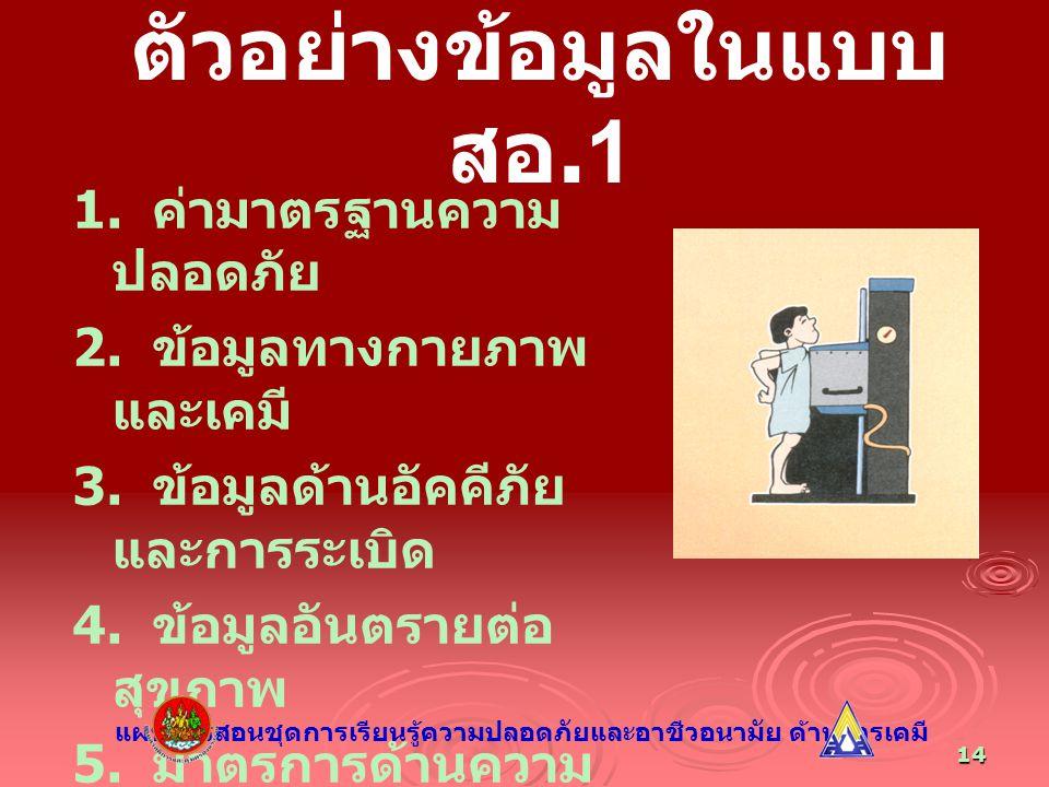 14 ตัวอย่างข้อมูลในแบบ สอ.1 1. ค่ามาตรฐานความ ปลอดภัย 2. ข้อมูลทางกายภาพ และเคมี 3. ข้อมูลด้านอัคคีภัย และการระเบิด 4. ข้อมูลอันตรายต่อ สุขภาพ 5. มาตร