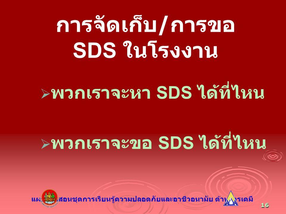 16 การจัดเก็บ / การขอ SDS ในโรงงาน   พวกเราจะหา SDS ได้ที่ไหน   พวกเราจะขอ SDS ได้ที่ไหน แผนการสอนชุดการเรียนรู้ความปลอดภัยและอาชีวอนามัย ด้านสารเ