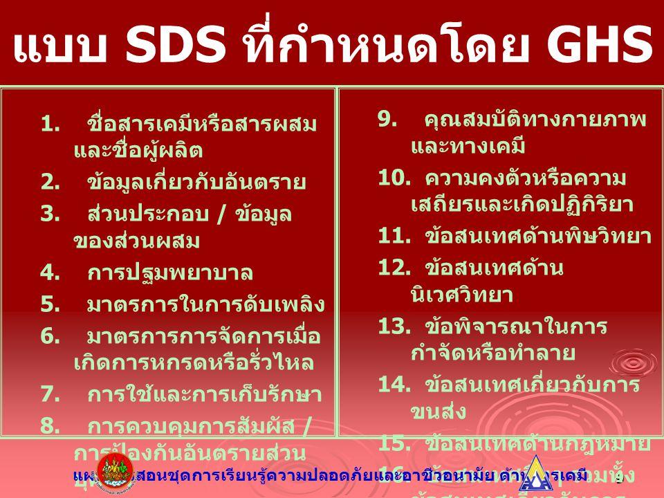 9 แบบ SDS ที่กำหนดโดย GHS 1. ชื่อสารเคมีหรือสารผสม และชื่อผู้ผลิต 2. ข้อมูลเกี่ยวกับอันตราย 3. ส่วนประกอบ / ข้อมูล ของส่วนผสม 4. การปฐมพยาบาล 5. มาตรก