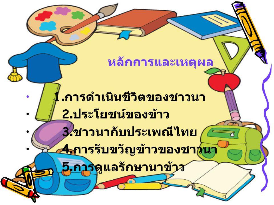 หลักการและเหตุผล 1. การดำเนินชีวิตของชาวนา 2. ประโยชน์ของข้าว 3. ชาวนากับประเพณีไทย 4. การรับขวัญข้าวของชาวนา 5. การดูแลรักษานาข้าว