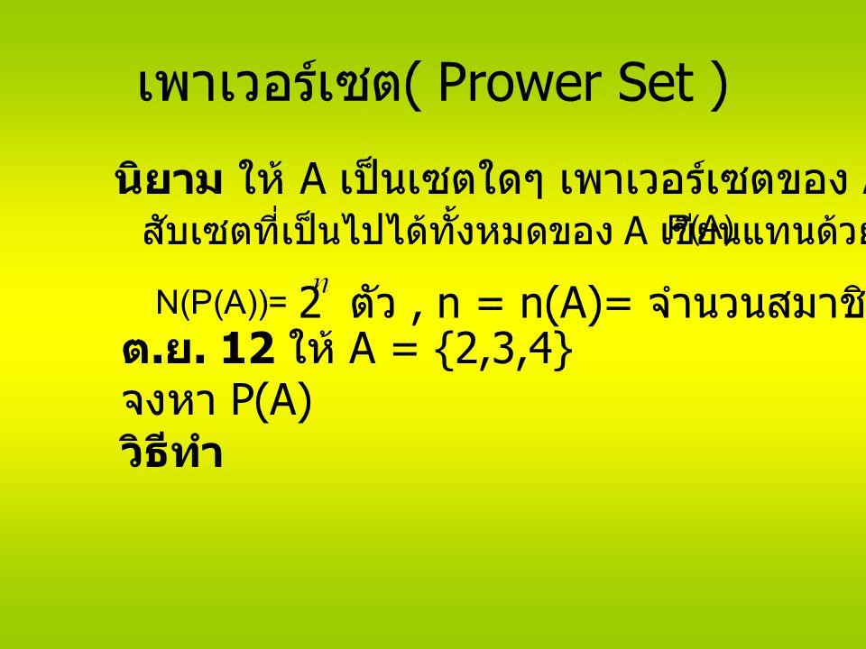 เพาเวอร์เซต ( Prower Set ) นิยาม ให้ A เป็นเซตใดๆ เพาเวอร์เซตของ A คือ P(A) สับเซตที่เป็นไปได้ทั้งหมดของ A เขียนแทนด้วย N(P(A))= 2 ตัว, n = n(A)= จำนวนสมาชิกทั้งหมดของ A ต.