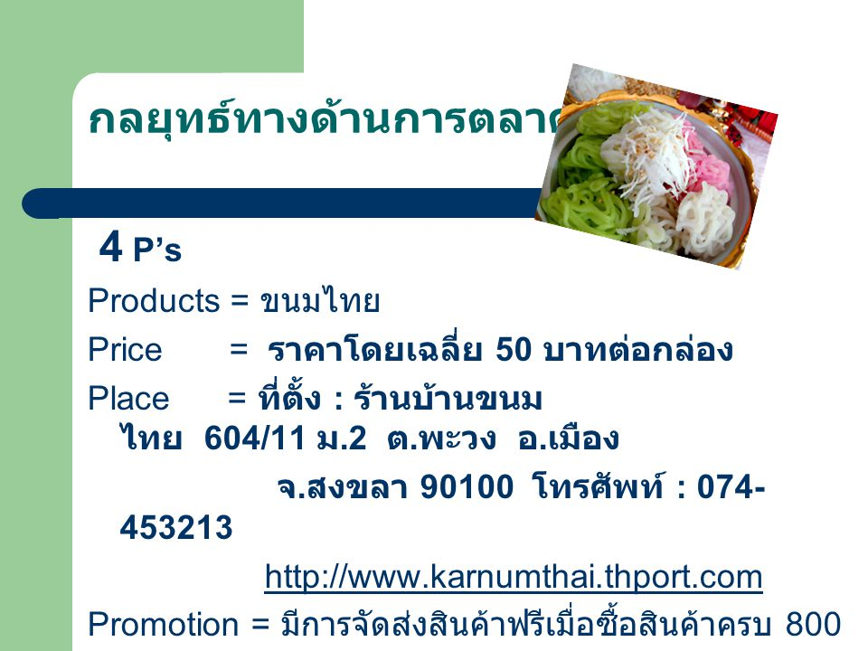 กลยุทธ์ทางด้านการตลาด 4 P's Products = ขนมไทย Price = ราคาโดยเฉลี่ย 50 บาทต่อกล่อง Place = ที่ตั้ง : ร้านบ้านขนม ไทย 604/11 ม.2 ต.