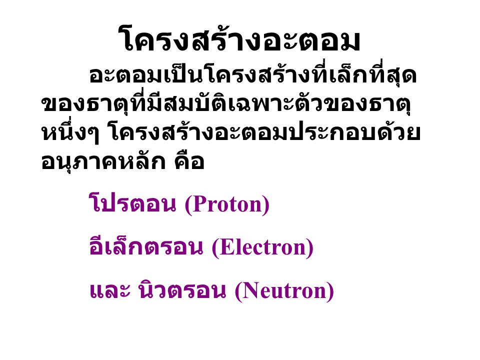 โครงสร้างอะตอม อะตอมเป็นโครงสร้างที่เล็กที่สุด ของธาตุที่มีสมบัติเฉพาะตัวของธาตุ หนึ่งๆ โครงสร้างอะตอมประกอบด้วย อนุภาคหลัก คือ โปรตอน (Proton) อีเล็กตรอน (Electron) และ นิวตรอน (Neutron)