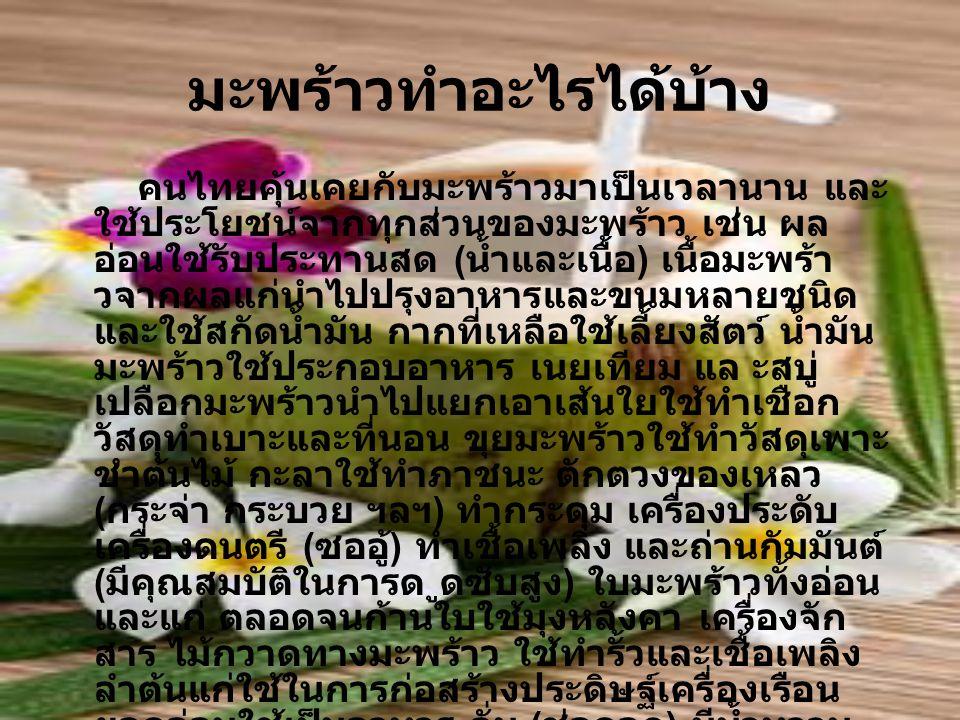มะพร้าวทำอะไรได้บ้าง คนไทยคุ้นเคยกับมะพร้าวมาเป็นเวลานาน และ ใช้ประโยชน์จากทุกส่วนของมะพร้าว เช่น ผล อ่อนใช้รับประทานสด ( น้ำและเนื้อ ) เนื้อมะพร้า วจ