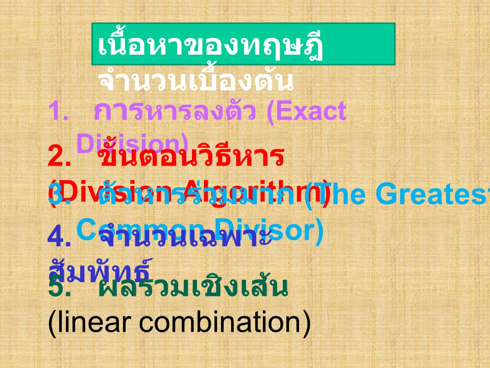1. การ หารลงตัว (Exact Division) 2. ขั้นตอนวิธีหาร (Division Algorithm) 3. ตัวหารร่วมมาก (The Greatest Common Divisor) 4. จำนวนเฉพาะ สัมพัทธ์ 5. ผลรวม