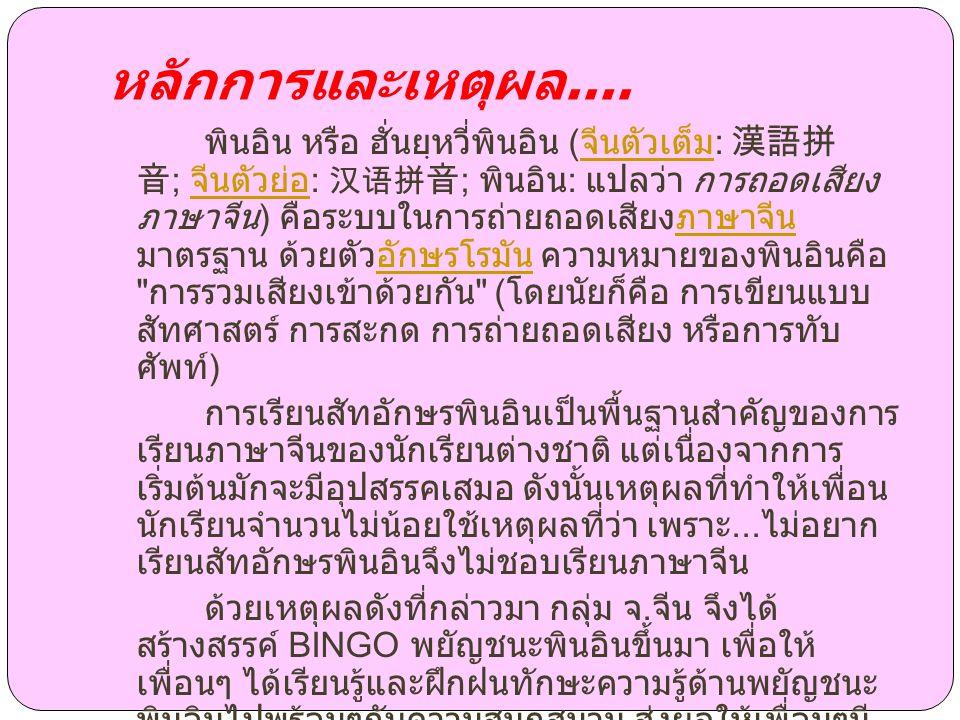 mzhxw lfpz chrk ntsy รูปแบบ BINGO พยัญชนะพิน อินประกอบด้วย....
