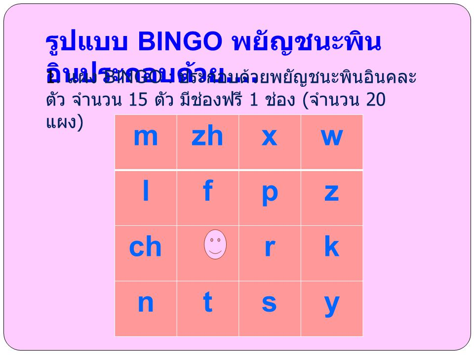 mzhxw lfpz chrk ntsy รูปแบบ BINGO พยัญชนะพิน อินประกอบด้วย.... 1. แผง BINGO : ประกอบด้วยพยัญชนะพินอินคละ ตัว จำนวน 15 ตัว มีช่องฟรี 1 ช่อง ( จำนวน 20