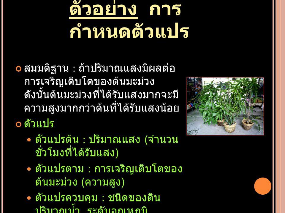 ตัวอย่าง การ กำหนดตัวแปร สมมติฐาน : ถ้าปริมาณแสงมีผลต่อ การเจริญเติบโตของต้นมะม่วง ดังนั้นต้นมะม่วงที่ได้รับแสงมากจะมี ความสูงมากกว่าต้นที่ได้รับแสงน้อย ตัวแปร ตัวแปรต้น : ปริมาณแสง ( จำนวน ชั่วโมงที่ได้รับแสง ) ตัวแปรตาม : การเจริญเติบโตของ ต้นมะม่วง ( ความสูง ) ตัวแปรควบคุม : ชนิดของดิน ปริมาณน้ำ ระดับอุณหภูมิ ปริมาณธาตุอาหาร
