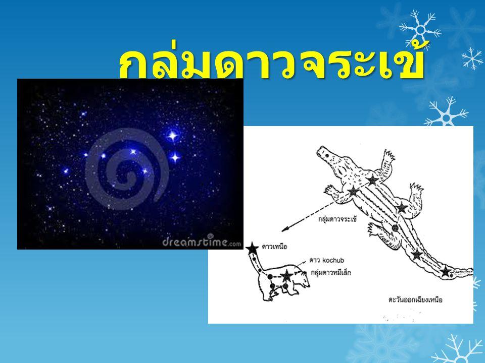 กลุ่มดาวจระเข้  กลุ่มดาวจระเข้เป็นกลุ่มดาวฤกษ์ที่ประจำอยู่บน ทองฟ้าทางทิศเหนือ ประกอบด้วยดาวฤกษ์ อย่างน้อย 7 ดวงโดยดาว 4 ดวงแรกเป็นลำตัว จระเข้ และอีก 3 ดวงสุดท้ายเป็นหางจระเข้ ส่วน ชาวกรีกโบราณเห็นเป็นหมีใหญ่  เราสามารถมองเห็นกลุ่มดาวจระเข้ได้ด้วยตา เปล่าซึ่งจะปรากฏบนทองฟ้าในตอนหัวค่ำของ เดือน กุมภาพันธ์ทางทิศตะวันออกเฉียงเหนือ และตกลับขอบฟ้าทางทิศตะวันตกเฉียงเหนือใน เวลา จวนสว่าง ดังนั้นช่วงเวลาที่อยู่เหนือขอบฟ้า จึงนานกว่า 12 ชั่วโมง กลุ่มดาวจระเข้มีประโยชน์ ในการหาทิศทางโดยใช้หาดาวเหนือ