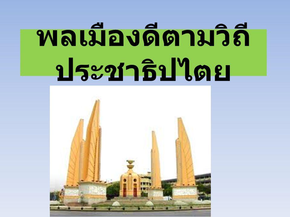 พลเมืองเรื่องดีในวิถีชีวิต ประชาธิปไตย ความหมายของ พลเมืองดี ในวิถีชีวิต ประชาธิปไตย พจนานุกรมนักเรียนฉบับ ราชบัณฑิตยสถาน ได้ให้ความหมายของคำ ต่าง ๆ ดังนี้ พลเมือง หมายถึง ชาวเมือง ชาว ประเทศ ประชาชน วิถี หมายถึง สาย แนว ทาง ถนน ประชาธิปไตย หมายถึง แบบการ ปกครองที่ถือมติปวงชนเป็นใหญ่ ดังนั้นคำว่า พลเมืองดีในวิถีชีวิต ประชาธิปไตย จึงหมายถึง พลเมืองที่มี คุณลักษณะที่สำคัญ คือ เป็นผู้ที่ยึดมั่น ในหลักศีลธรรมและคุณธรรมของศาสนา มี หลักการทางประชาธิปไตยในการดำรงชีวิต ปฏิบัติตนตามกฎหมาย ดำรงตนเป็นประโยชน์ต่อสังคม โดยมีการ ช่วยเหลือเกื้อกูลกัน อันจะก่อให้เกิดการ พัฒนาสังคมและประเทศชาติ
