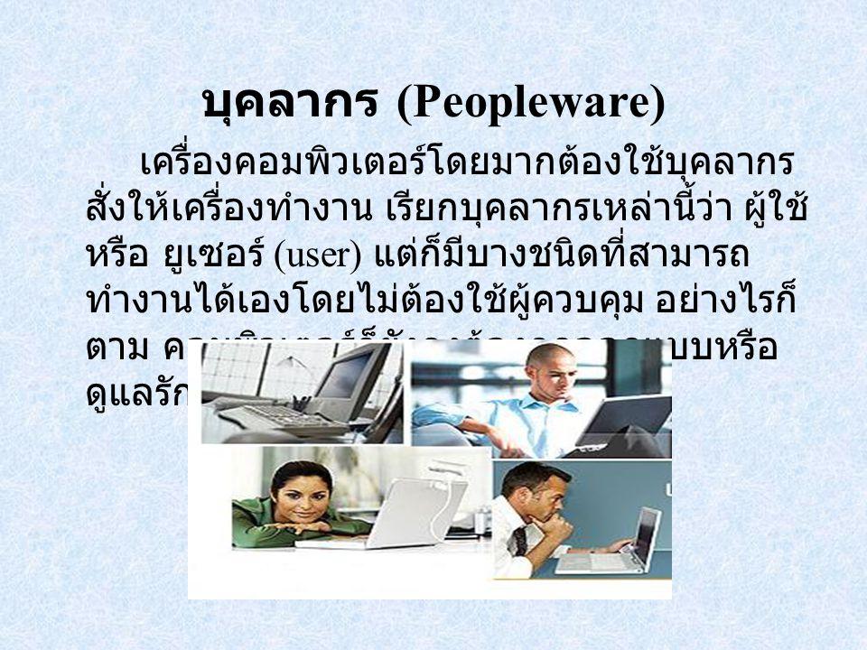 บุคลากร (Peopleware) เครื่องคอมพิวเตอร์โดยมากต้องใช้บุคลากร สั่งให้เครื่องทำงาน เรียกบุคลากรเหล่านี้ว่า ผู้ใช้ หรือ ยูเซอร์ (user) แต่ก็มีบางชนิดที่สามารถ ทำงานได้เองโดยไม่ต้องใช้ผู้ควบคุม อย่างไรก็ ตาม คอมพิวเตอร์ก็ยังคงต้องถูกออกแบบหรือ ดูแลรักษาโดยมนุษย์เสมอ