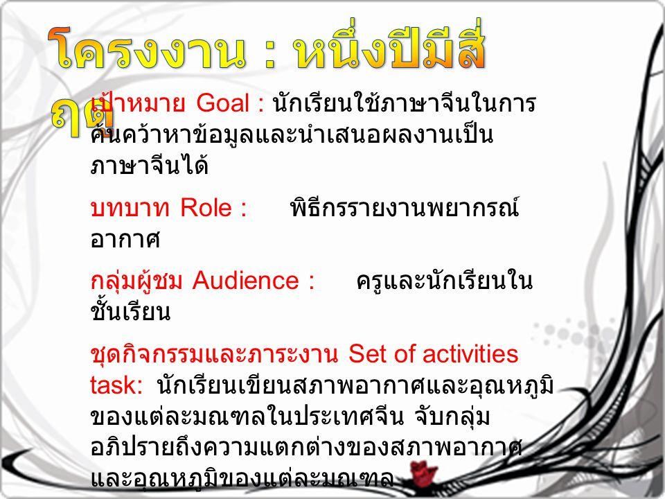 เป้าหมาย Goal : นักเรียนใช้ภาษาจีนในการ ค้นคว้าหาข้อมูลและนำเสนอผลงานเป็น ภาษาจีนได้ บทบาท Role : พิธีกรรายงานพยากรณ์ อากาศ กลุ่มผู้ชม Audience : ครูและนักเรียนใน ชั้นเรียน ชุดกิจกรรมและภาระงาน Set of activities task: นักเรียนเขียนสภาพอากาศและอุณหภูมิ ของแต่ละมณฑลในประเทศจีน จับกลุ่ม อภิปรายถึงความแตกต่างของสภาพอากาศ และอุณหภูมิของแต่ละมณฑล ผลงาน Product : นักเรียนจัดบอร์ดแสดง อุณหภูมิของแต่ละมณฑล พร้อมกับนำเสนอ ผลงาน