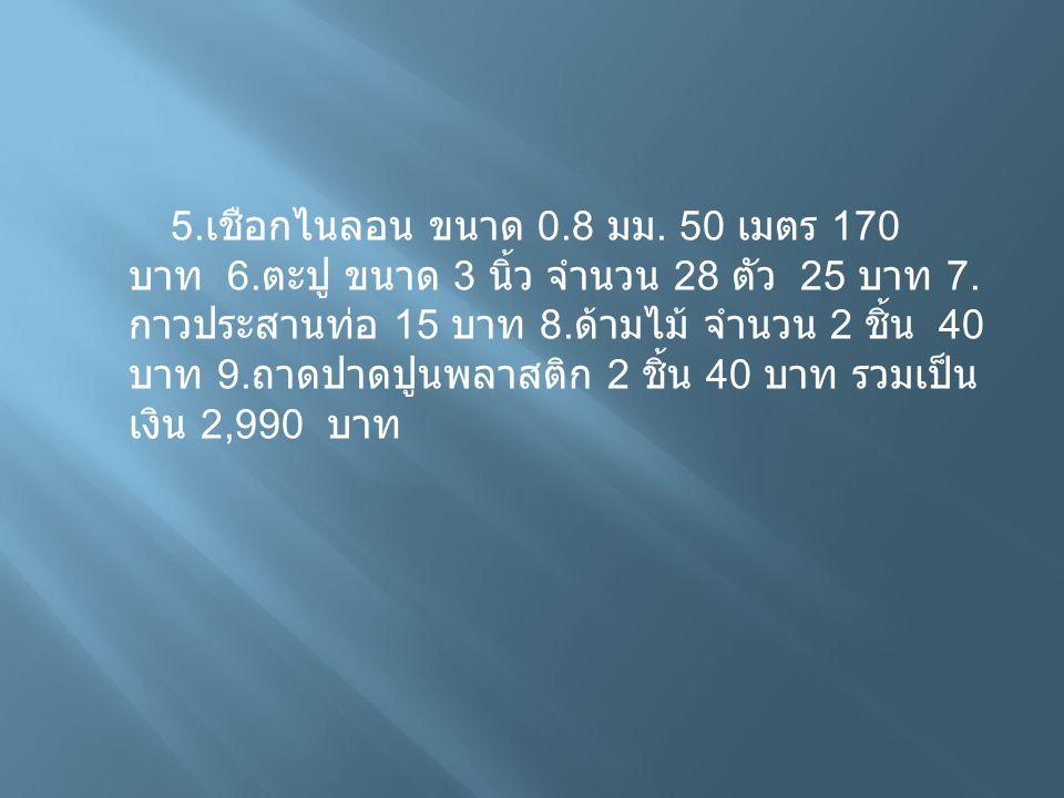 5. เชือกไนลอน ขนาด 0.8 มม. 50 เมตร 170 บาท 6. ตะปู ขนาด 3 นิ้ว จำนวน 28 ตัว 25 บาท 7. กาวประสานท่อ 15 บาท 8. ด้ามไม้ จำนวน 2 ชิ้น 40 บาท 9. ถาดปาดปูนพ