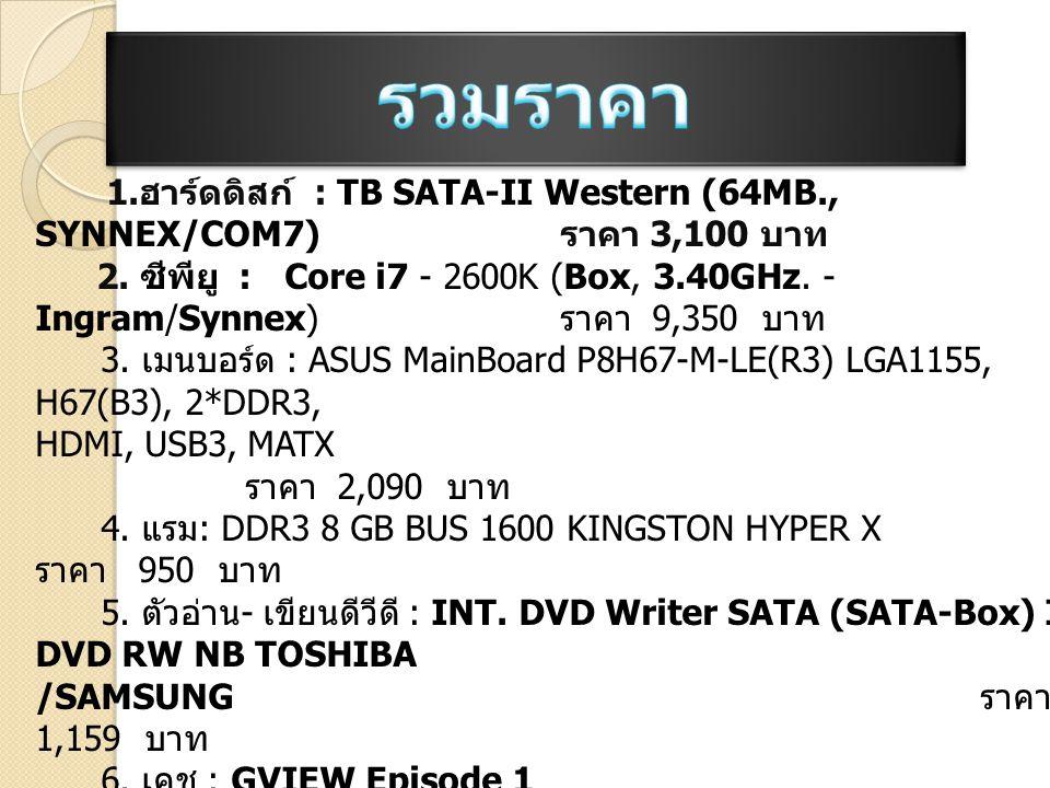1. ฮาร์ดดิสก์ : TB SATA-II Western (64MB., SYNNEX/COM7) ราคา 3,100 บาท 2. ซีพียู : Core i7 - 2600K (Box, 3.40GHz. - Ingram/Synnex) ราคา 9,350 บาท 3. เ