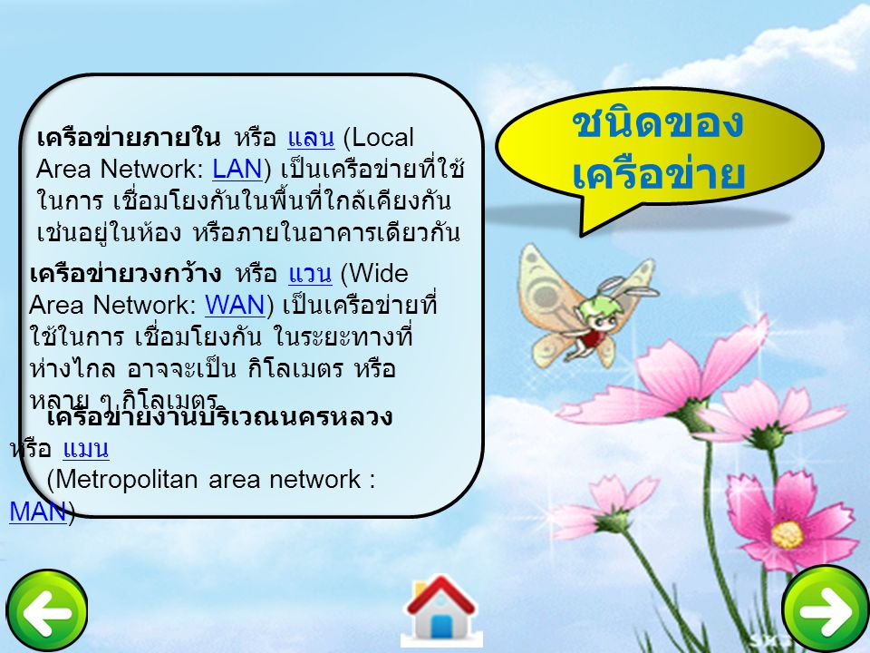 ชนิดของ เครือข่าย เครือข่ายภายใน หรือ แลน (Local Area Network: LAN) เป็นเครือข่ายที่ใช้ ในการ เชื่อมโยงกันในพื้นที่ใกล้เคียงกัน เช่นอยู่ในห้อง หรือภาย