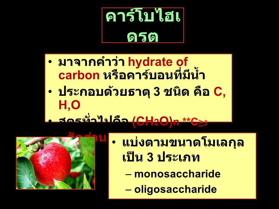 คาร์โบไฮเ ดรต มาจากคำว่า hydrate of carbon หรือคาร์บอนที่มีนํ้า ประกอบด้วยธาตุ 3 ชนิด คือ C, H,O สูตรทั่วไปคือ (CH 2 O) n **C ≥ 3 มีสัดส่วน H : O = 2 : 1 แบ่งตามขนาดโมเลกุล เป็น 3 ประเภท –monosaccharide –oligosaccharide –polysaccharide