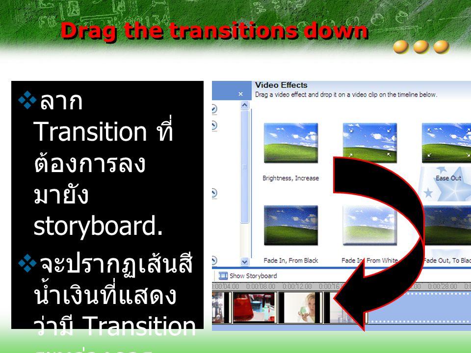 Drag the transitions down  ลาก Transition ที่ ต้องการลง มายัง storyboard.  จะปรากฏเส้นสี น้ำเงินที่แสดง ว่ามี Transition ระหว่างการ เปลี่ยนภาพ