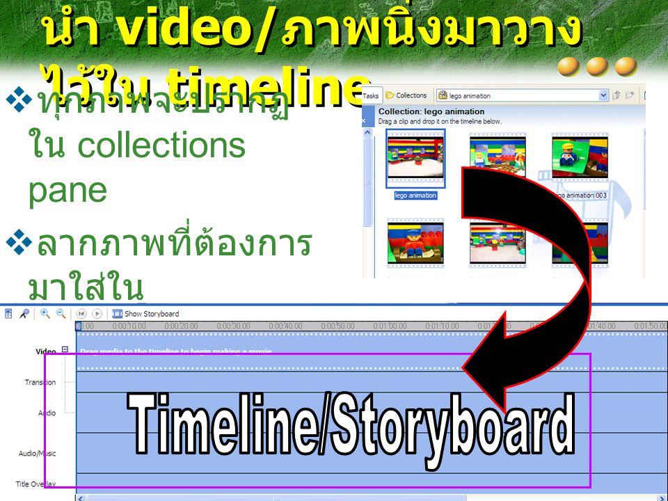 นำ video/ ภาพนิ่งมาวาง ไว้ใน timeline  ทุกภาพจะปรากฏ ใน collections pane  ลากภาพที่ต้องการ มาใส่ใน story board/ timeline ตามลำดับ