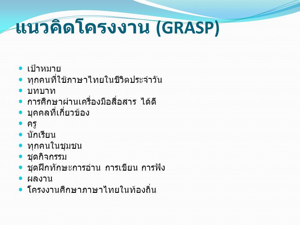 แนวคิดโครงงาน (GRASP) เป้าหมาย ทุกคนที่ใช้ภาษาไทยในชีวิตประจำวัน บทบาท การศึกษาผ่านเครื่องมือสื่อสาร ได้ดี บุคคลที่เกี่ยวข้อง ครู นักเรียน ทุกคนในชุมชน ชุดกิจกรรม ชุดฝึกทักษะการอ่าน การเขียน การฟัง ผลงาน โครงงานศึกษาภาษาไทยในท้องถิ่น