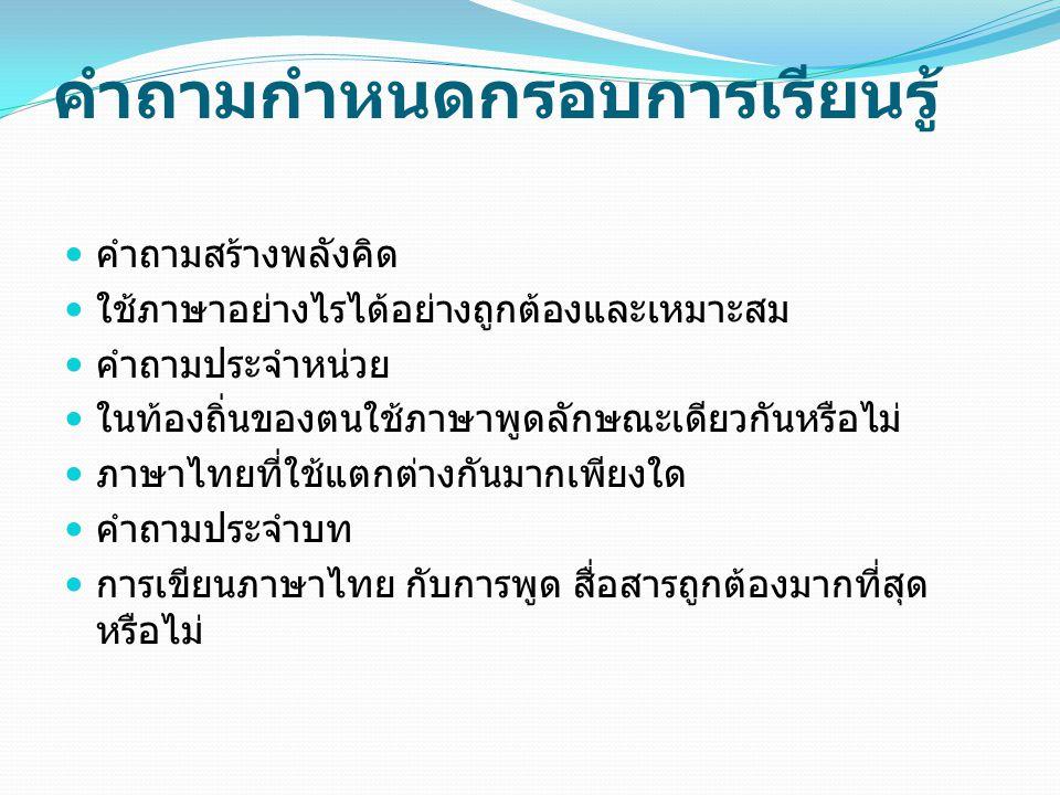 กระบวนการประเมิน เครื่องมือ แบบฝึกทักษะการเขียน การใช้ภาษาในชีวิตประจำวัน แบบฝึกทักษะกระบวนการอ่าน เขียน และการพูด วิธีการ ศึกษาการใช้ภาษาไทยของทุกคนในชุมชน เปรียบเทียบการใช้ภาษาไทยในชุมชนของตนและชุมชนใกล้เคียง ทดสอบการใช้แบบฝึกทักษะการเรียนรู้ ทุกระยะๆ