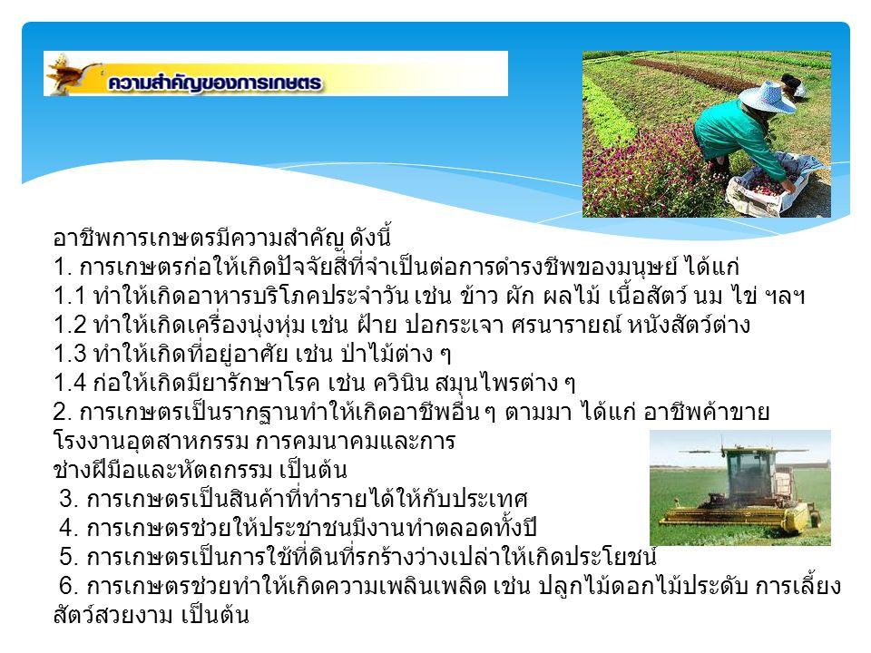 อาชีพการเกษตรมีความสำคัญ ดังนี้ 1. การเกษตรก่อให้เกิดปัจจัยสี่ที่จำเป็นต่อการดำรงชีพของมนุษย์ ได้แก่ 1.1 ทำให้เกิดอาหารบริโภคประจำวัน เช่น ข้าว ผัก ผล