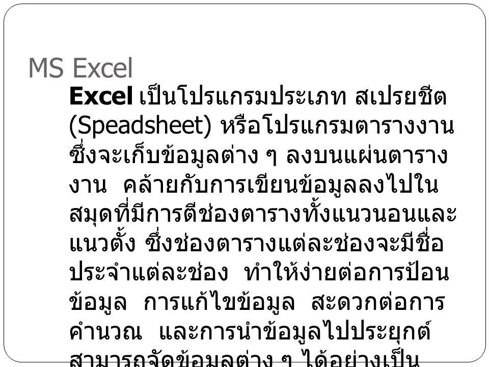 MS Excel Excel เป็นโปรแกรมประเภท สเปรยชีต (Speadsheet) หรือโปรแกรมตารางงาน ซึ่งจะเก็บข้อมูลต่าง ๆ ลงบนแผ่นตาราง งาน คล้ายกับการเขียนข้อมูลลงไปใน สมุดท
