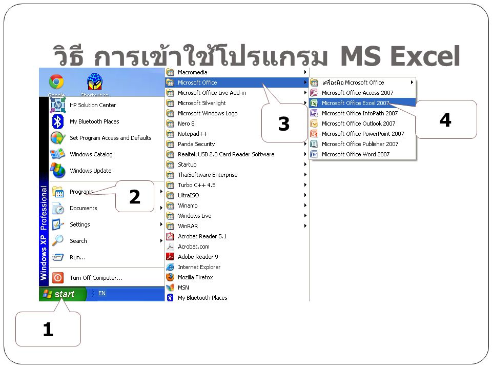 office button Quick access Title bar contro l menu Ribb on name box Formular bar Cell column Work Area rows Work sheet View Zoom stat us bar หน้าตาโปรแกรม Excel scroll bar